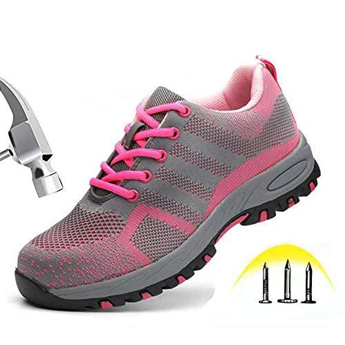 GPFSHOES Zapatos Seguridad Rosa Mujer/Unisex Zapatillas de Trabajo Punta de Acero Zapatos de Malla Industria y Construcción,Rosado,38EU