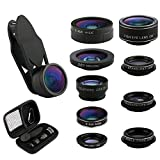 Platiro Camera Lens Kit 9 in 1 Set Macro Zoom, Super Wide Angle, Telephoto, Fisheye, CPL, Kaleidoscope, Starburst (Black)
