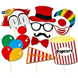 Veewon 13pcs Photo Booth Props Diy Kit Circus Clown Cosplay for Photography in Carnival Party, Wedding, Birthday Party
