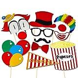 Veewon 13 piezas de Photo Booth Puntales de bricolaje Kit del payaso de circo de Cosplay de Fotografía en Carnival partido, boda, fiesta de cumpleaños