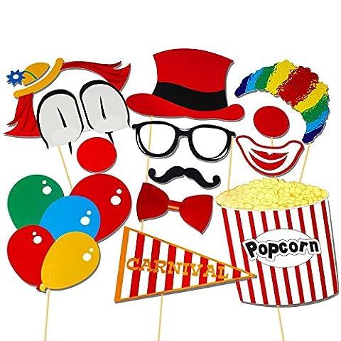 Veewon 13pcs Accessoires Photobooth clown de cirque cosplay pour la