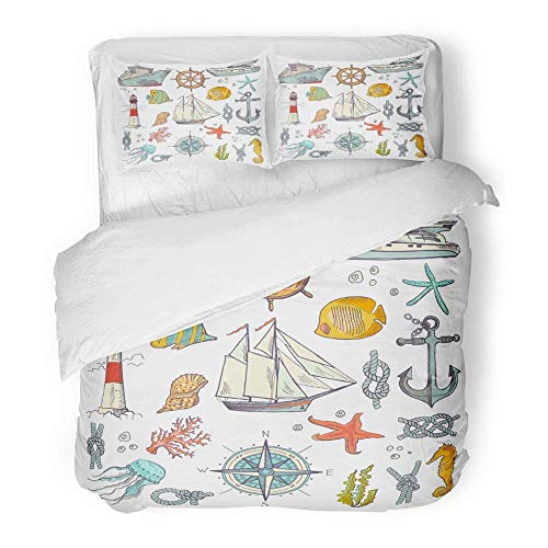 3-teiliges Bettbezugset Gebürstetes Mikrofasergewebe Atmungsaktives Wasser Marine Coloring Doodle mit verschiedenen Seekompass- und Leuchtturm-Bettwäsche-Set mit 2 Kissenbezügen