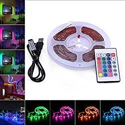 Striscia LED TV, AVAWAY 3M RGB White 5050 USB LED Striscia led strip lightLuce Ambiente con Telecomando 24 Keys + Cavo USB per TV e Monitor PC