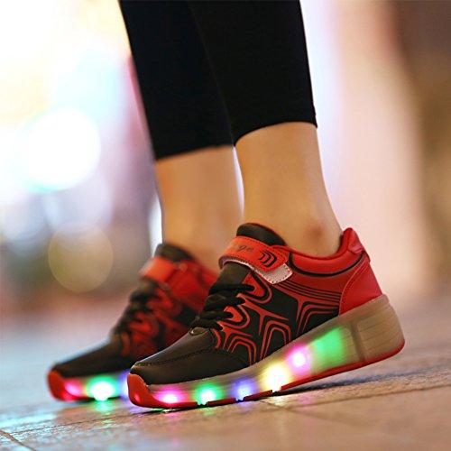 SGoodshoes Chaussures à Roulettes Baskets Sneakers Lumineuses clignotante Chaussures de Sport LED chaussures à roulettes avec 7 colorés Enfant Fille Garçon Noir
