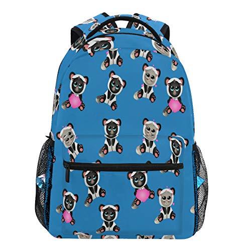 Oarencol Nette Katze In Panda Kostüm Schöne Kätzchen Rosa Herz Tier Rucksäcke Bookbags Daypack Travel School College Tasche für Frauen Mädchen Herren Jungen - Katze Kostüm Für College Mädchen