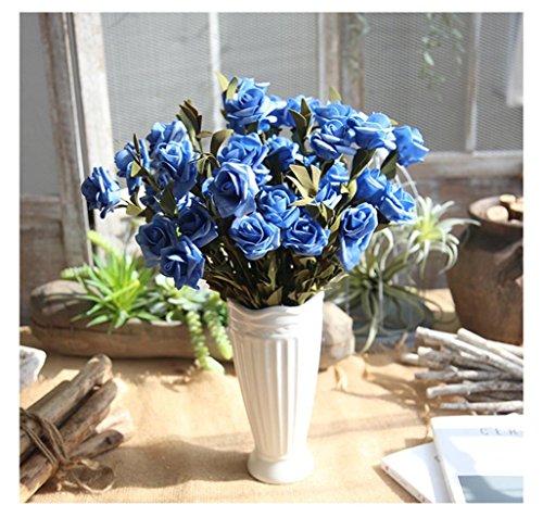 Preisvergleich Produktbild Dragon868 Rose künstliche Blumen Rose Hochzeit Bouquet Braut Hortensie Dekor (Blau,  Künstliche Blume)