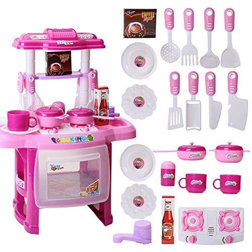 TONGSHAO Kit Utensili Cucina/ 1381/5000 Simulazione Cucina Utensili da Cucina Giocattoli educativi per Bambini. Set Giocattolo da Cucina elettronico per Bambini (Rosa)