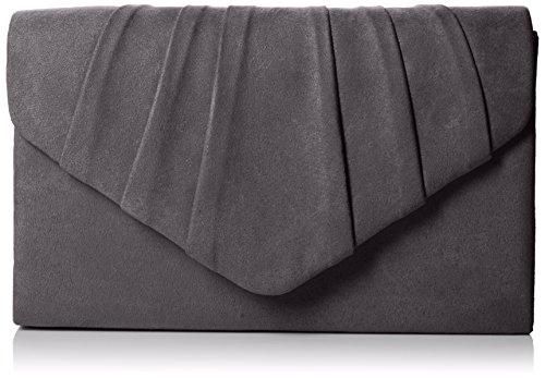 Green Velvet Tasche (SwankySwans Damen Iggy Suede Velvet Envelope Party Prom Clutch Bag Tasche, Black (Charcoal), Einheitsgröße)