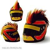 Helm - Irokese für den Motorradhelm, Crosshelm, Motocrosshelm - Kinderhelm Irokesenaufsatz - Helmirokese Punk Iro (Deutschland - Schwarz/Rot/Gelb)