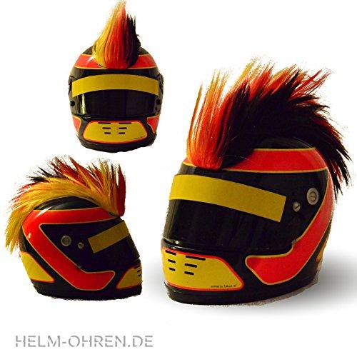 Helm - Irokese für den Motorradhelm, Skihelm, Snowboardhelm, Fahrradhelm oder Kinderhelm - Coole Helmdeko / Irokesenaufsatz - Helmirokese Punk Iro (Deutschland - Schwarz/Rot/Gelb)