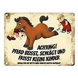 trendaffe - Metallschild mit Pferde Motiv und Spruch: Achtung! Pferd beisst schlägt und frisst kleine Kinder