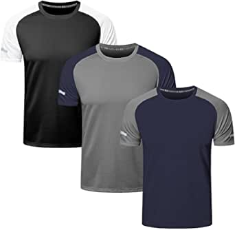 frueo 3 Pack Mens Running T Shirt Dry-Fit Sport Tops for Men Comfort Workout Shirts Moisture Wicking Active Athletic Shirts Short Sleeve Gym Wear