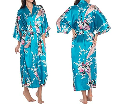 Women's Robes Peacock and Blossoms Kimono Satin Nightwear Long Style UK Stock (3XL, Sky Blue)