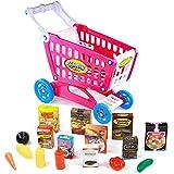 PL Chariot Supermarché Enfant Chariot de Courses Caddie Supermarché Course Fruits et Légumes Jeux Exterieur Jouet Enfant 3 4 5 Ans Fille Garcon Cadeau Éducatif