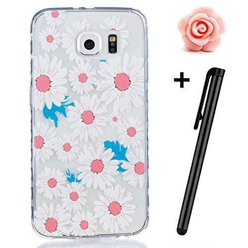 TOYYM UltraSlim Hülle Schutzhülle für Samsung Galaxy S6,TPU Bumper Case Shock Absorption Scratch-Proof Silikon Cover transparent,Gänseblümchen