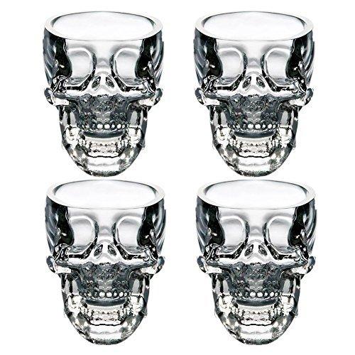 EASYTAR Hochwertig Kristalle 3D Schädel Piratinnen Shot Glas Drinks Cocktail Bier Tassen, Set of 4