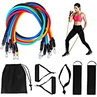 Tanness 11pc Resistance Bands Set Workout Fitness Set Yoga Crossfit Pilates Physio Home Gym Equipment Full Body