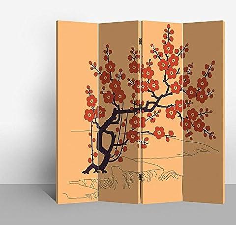 Fine Asianliving séparateur de pièce Paravent pliable écran Rouge Cherryblossoms 4panneaux (180x 160cm) meubles Home Decor Imprimé sur toile écrans recto verso bilatéral Oriental asiatique chinois Style japonais (sur toile)