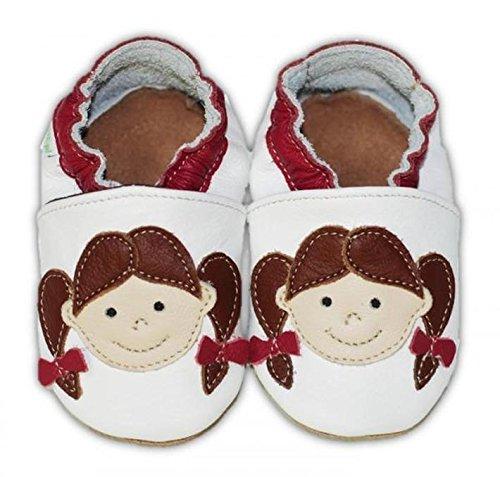 Fiorino Leder-Krabbelschuhe Babyschuhe Lauflern-Schuhe in blau mit gelben Sternen Motiv Größe 25 / 26 Mädchen Rot
