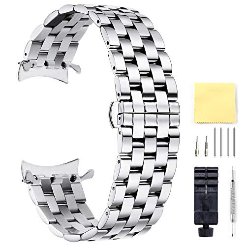 BINLUN Unisex Edelstahl Uhr Armband Silber 24MM FBL00016B-SSS24