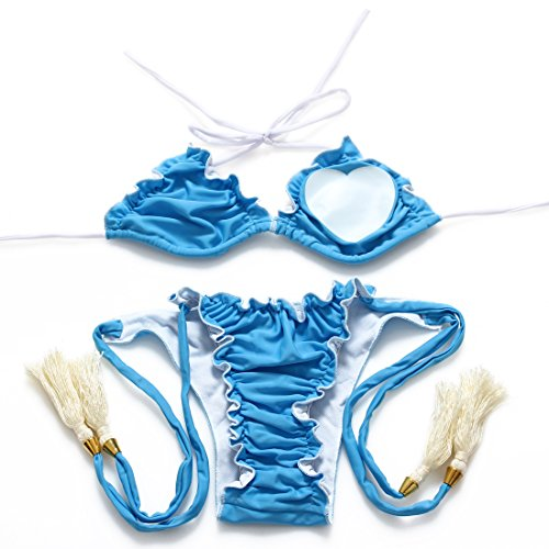 Sexy Dessous - Frau süße Mädchen-Liebes-Dreiecke gesäumten Bikini-Himmel-Blau, Herz-geformte heiße Frühlings-Badeanzüge , m Frauen Herz-fleece Schlafanzug
