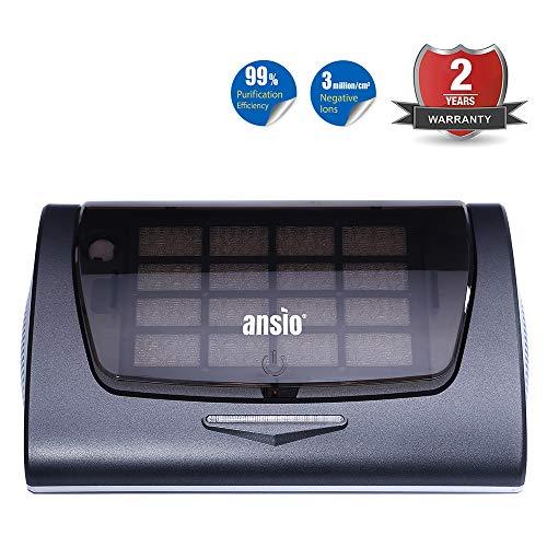 ANSIO Air Purifier HEPA Active Carbon Filter UV Lamp Ioniser Aroma Pad Compact Ideal for Home Car Office with Mobile Charger