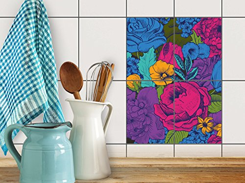 reparation-baignoire-carrelage-sticker-autocollant-art-de-tuiles-mural-design-colorful-flowers-15x20