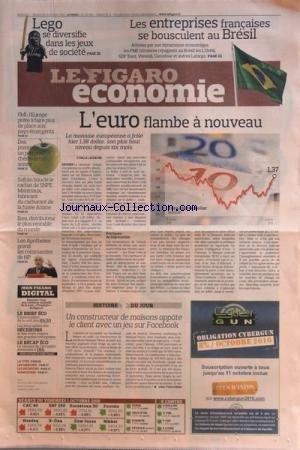 FIGARO ECONOMIE (LE) [No 20581] du 02/10/2010 - LEGO SE DIVERSIFIE DANS LES JEUX DE SOCIETE - LES ENTREPRISES FRANCAISES SE BOUSCULENT AU BRESIL - L'EUROP FLAMBE A NOUVEAU - FMI / L'EUROPE PRETE A FAIRE PLUS DE PLACE AUX PAYS EMERGENTS - SAFRAN BOUCLE LE RACHAT DE SNPE MATERIAUX - FABRICANT DU CARBURANT DE LA FUSEE ARIANE - IKEA LE PLUS RENTABLE DU MONDE - LEO APOTHEKER PREND LES COMMANDES DE HP - UN CONSTRUCTEUR DE MAISONS APPATE LE CLIENT AVEC UN JEU SUR FACEBOOK - par Collectif