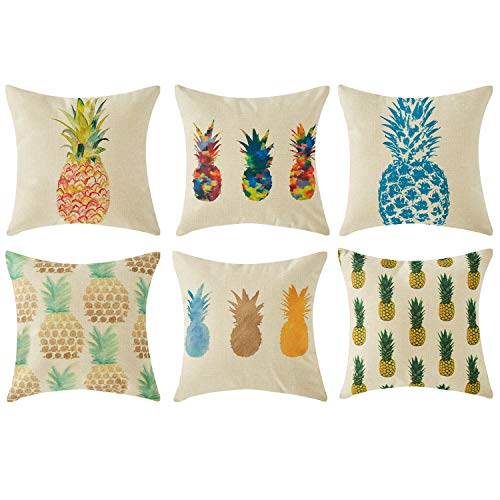 Topfinel Kissenbezüge in Baumwollen- und Leinenoptik Bedruckte Kissenhüllen mit Ananasmustern Dekokissenbezüge für Sofa Bett Auto 45x45cm 6er Set -
