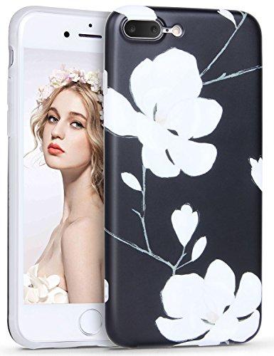 iPhone 6 6S Hülle, Imikoko Elegant Malerei Series Beauty Protective Schützend Stoßfest Anti Staub Kratzer Soft Weich TPU Handyhülle Case Back Cover Super Sweet Cute für Girl Frauen Mädchen für iPhone  Weiß Blumen
