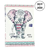 Oxford Boho Chic Agenda Scolaire Journalier 2019-2020 1 Jour Page 352 Pages 12x18 Eléphant