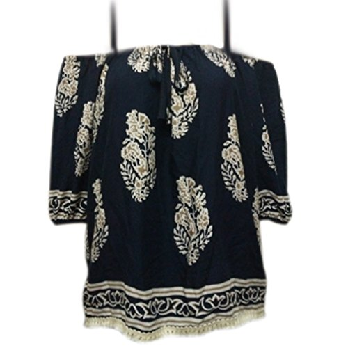 Honghu Damen Simple Crew Neck 3/4 Arm Blumen T-shirt Dunkelblau