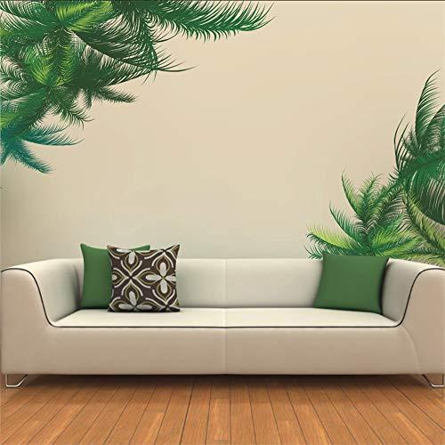 Chellonm Diy Grünpflanze Wandaufkleber Palm Tree Leaf Wandtattoos Hawaii Tropical Wandtattoo Tv Hintergrund Home Wohnzimmer Wandaufkleber (Hawaii-tv)
