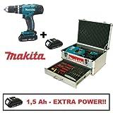 Trapano avvitatore a batteria c/percussione 18V 1,5 Amp Litio con batteria di riserva e valigetta c/accessori Makita - DHP453RYEX