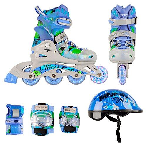 Kinder Inlineskates Set Torny mit LED Leuchtrollen Größen verstellbar + Schoner + Helm