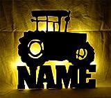 Schlummerlicht24 Led 3d Wand-Lampe Trekki Traktor Lampe mit Name, Geschenk Bauernhof Bauer Landwirte Jungs und Mädchen