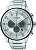 Citizen Watch Men's chronograph men's Solar Powered Watch with Silver Dial Analogue Display and Silver Stainless Steel Bracelet CA4034-50A