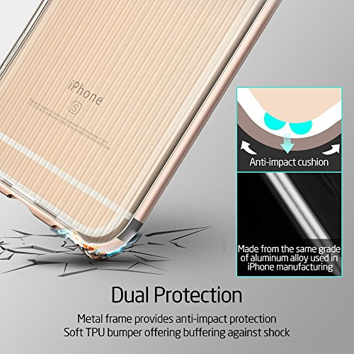 iPhone 6 / 6S Hülle (4,7 Zoll), ESR® Hybrid Schutzhülle, Metallrahmen + Weiche Silikon Bumper Case Hülle für iPhone 6/6S (Rosygold) Gold
