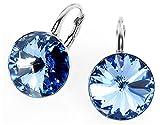 Crystals & Stones *RIVOLI* 14 mm *Light Sapphire* 925 Silber Ohrringe Damen Ohrhänger mit Kristallen von Swarovski Elements