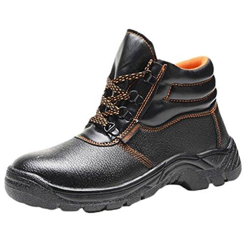 NiSeng Uomo Scarpe Antinfortunistiche Impermeabili Scarpe da Lavoro Puntale in Acciaio Comode Traspiranti Scarpe da Cantiere Nero 45