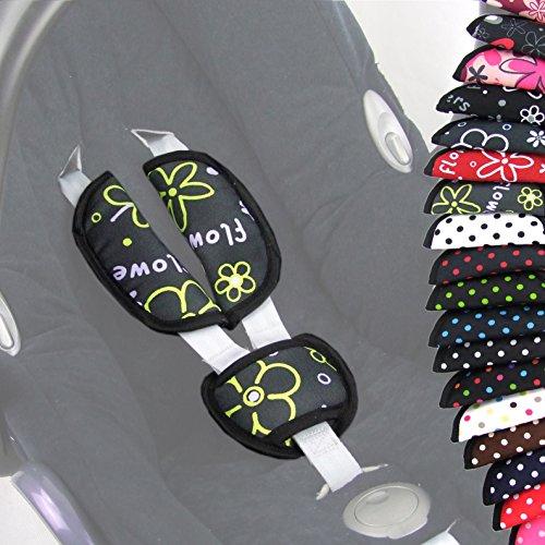 BAMBINIWELT 3tlg. SET, Gurtpolster+Schrittpolster, UNIVERSAL, für Babyschale Gruppe 0 z.B. Maxi-Cosi, Römer (Flowers Grau/Gelb)