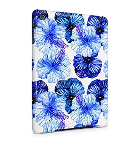 Flower Deep Blue Pansy & Sky Blue Hibiscus Blossom Pattern Apple iPad Mini 1 Snap-On Hard Plastic Protective Shell Case Cover