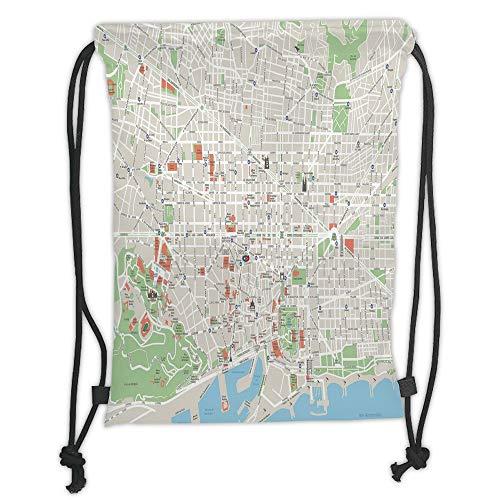 Icndpshorts Drawstring Backpacks Bags,Map,Map of Barcelona City Streets Parks Subdistricts Points of Interests Decorative,Beige Lime Green Light Blue Soft Satin,5 Liter Capacity,Adjustable STR