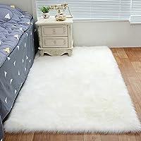 AUFELL Faux Sheepskin Rug ,Rectangular,Fur Faux Fleece Fluffy Area Rugs Anti-Skid Yoga Carpet for Living Room Bedroom Sofa Floor Rugs (White, 19.7 x 59 inch)