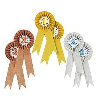Auszeichnungsset Ordensband (1., 2. und 3. Platz) – als Anerkennung für Buchstabierwettbewerbe, Wissenschaftsmessen oder Talentshows, Farben: Gold, Silber, Bronze, 6 Stück