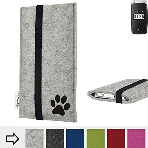 flat.design Handy Hülle Coimbra für Doro Primo 413 individualsierbare Handytasche Filz Tasche fair Hund Pfote tatze