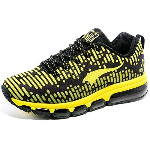 ONEMIX Scarpe da Ginnastica Corsa Sportive Uomo Donna Fitness Running Air Cushion Sneaker Nero/Giallo 42 EU