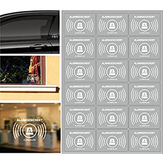 18 Stück Alarmanlagen Aufkleber, alarmgesichert Aufkleber transparente Folie zur Innenverklebung und von Außen lesbar.
