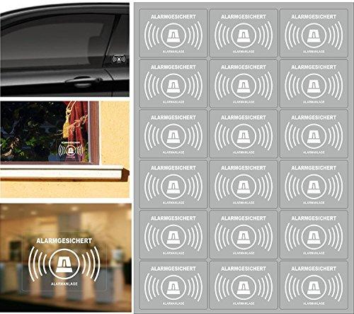 18 Stück Alarmanlagen Aufkleber, alarmgesichert Aufkleber transparente Folie zur Innenverklebung und von Außen lesbar. Alarm-aufkleber