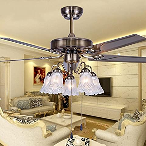UZI-Hierro hoja ventilador lámparas, vida habitación ventilador lámparas de araña, lujo elegante salón comedor, encendió las luces del ventilador de techo